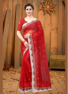 Red Ceremonial Net Contemporary Saree