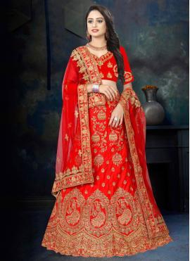Red Ceremonial Satin Designer Lehenga Choli