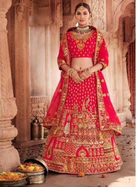 Red Ceremonial Trendy Lehenga Choli