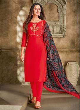 Red Chanderi Cotton Printed Churidar Salwar Suit