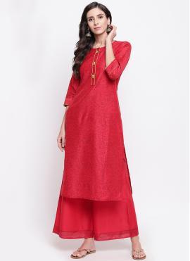 Red Chanderi Festival Party Wear Kurti