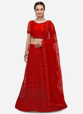 Red Color A Line Lehenga Choli