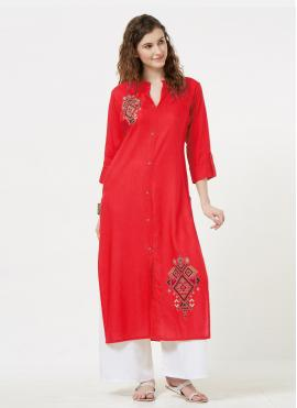 Red Color Casual Kurti