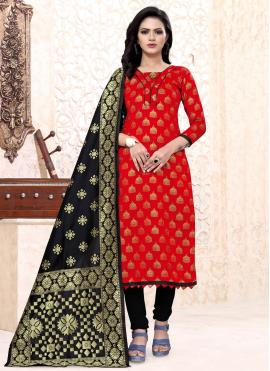 Red Color Churidar Suit
