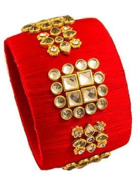 Red Colour Silk Thread Stone Work Pretty Bangle