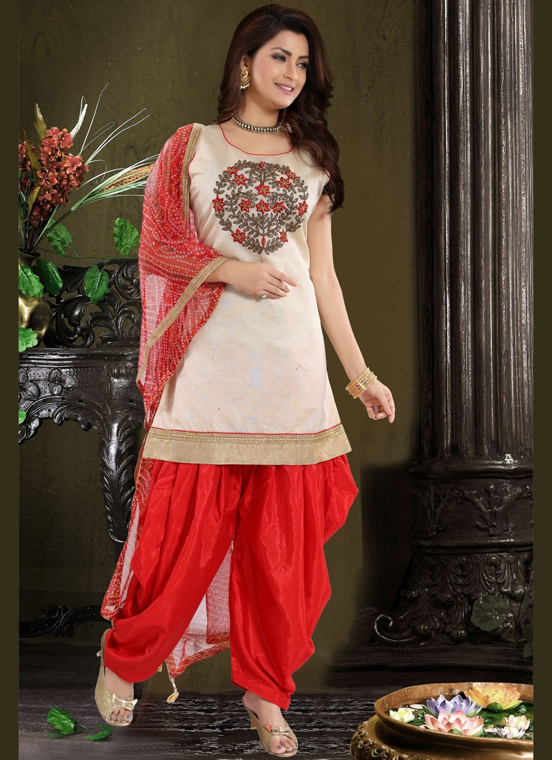 Red Embroidered Chanderi Designer Patiala Suit