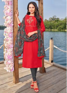 Red Embroidered Churidar Designer Suit