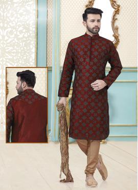 Red Embroidered Dupion Silk Kurta Pyjama
