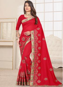 Red Embroidered Fancy Fabric Classic Saree