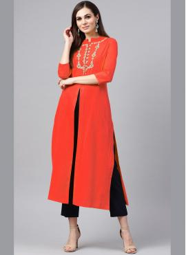 Red Embroidered Festival Party Wear Kurti