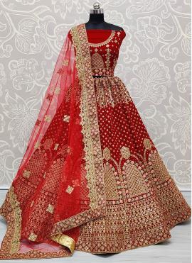Red Embroidered Mehndi A Line Lehenga Choli