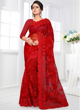 Red Embroidered Party Classic Designer Saree
