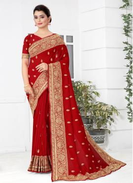 Red Embroidered Silk Traditional Designer Saree