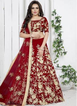 Red Embroidered Trendy Designer Lehenga Choli