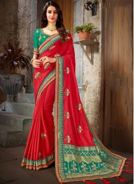 Red Embroidered Trendy Saree