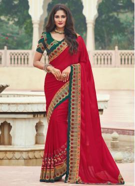 Red Engagement Designer Saree