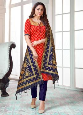 Red Festival Art Banarasi Silk Pant Style Suit