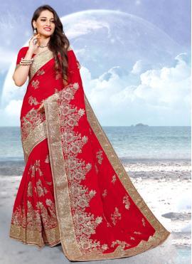Red Georgette Wedding Designer Saree