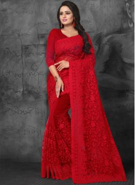 Red Net Designer Saree