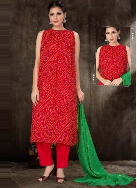 Red Print Fancy Fabric Readymade Suit
