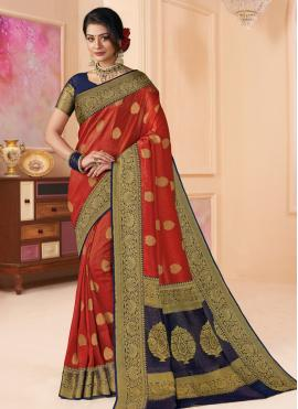 Red Reception Shimmer Classic Saree