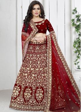 Red Reception Trendy Designer Lehenga Choli