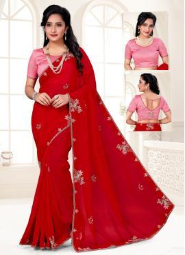 Red Sangeet Designer Saree