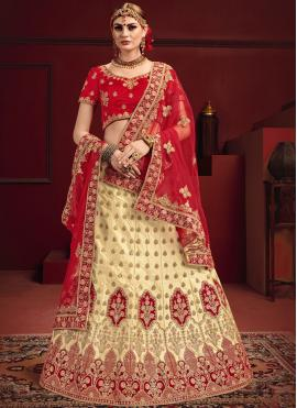 Red Satin Sangeet Designer Lehenga Choli