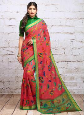 Red Silk Digital Print Trendy Saree