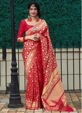 Red Silk Reception Classic Saree