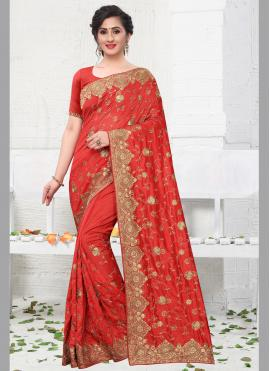 Red Stone Party Designer Bollywood Saree