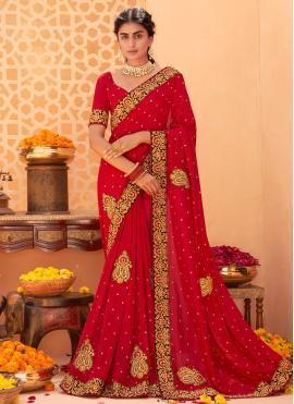 Red Vichitra Silk Festival Classic Designer Saree