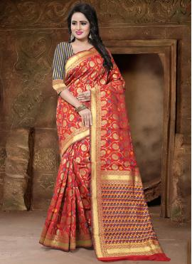 Red Weaving Banarasi Silk Classic Designer Saree