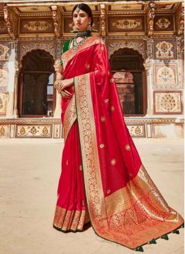 Red Weaving Fancy Fabric Designer Saree
