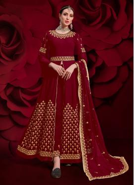Red Zari Georgette Pant Style Suit
