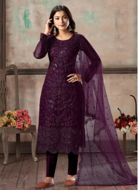 Refreshing Purple Festival Pant Style Suit