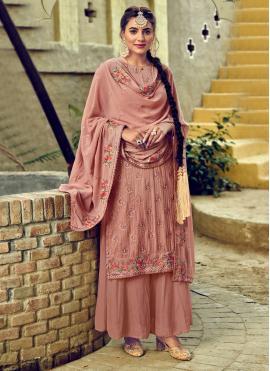 Refreshing Resham Georgette Hot Pink Salwar Suit