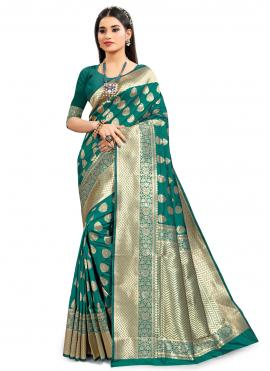 Refreshing Silk Green Designer Traditional Saree