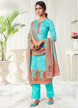 Regal Aqua Blue Digital Print Cotton Bollywood Salwar Kameez