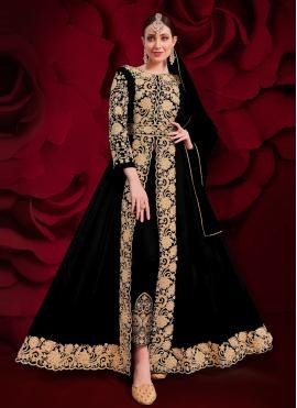 Regal Embroidered Faux Georgette Black Anarkali Suit