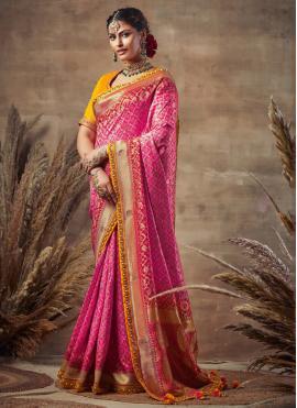 Remarkable Hot Pink Engagement Designer Traditional Saree