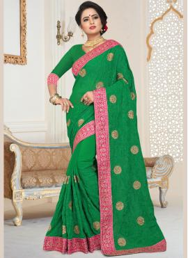 Remarkable Patch Border Green Classic Designer Saree