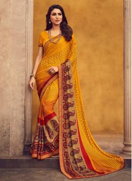 Remarkable Printed Yellow Classic Designer Saree