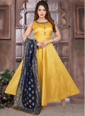 Remarkable Yellow Fancy Floor Length Anarkali Suit