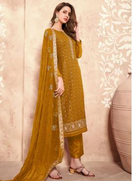 Renowned Embroidered Mustard Faux Georgette Designer Pakistani Suit