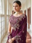 Renowned Faux Crepe Purple Designer Traditional Saree - 1