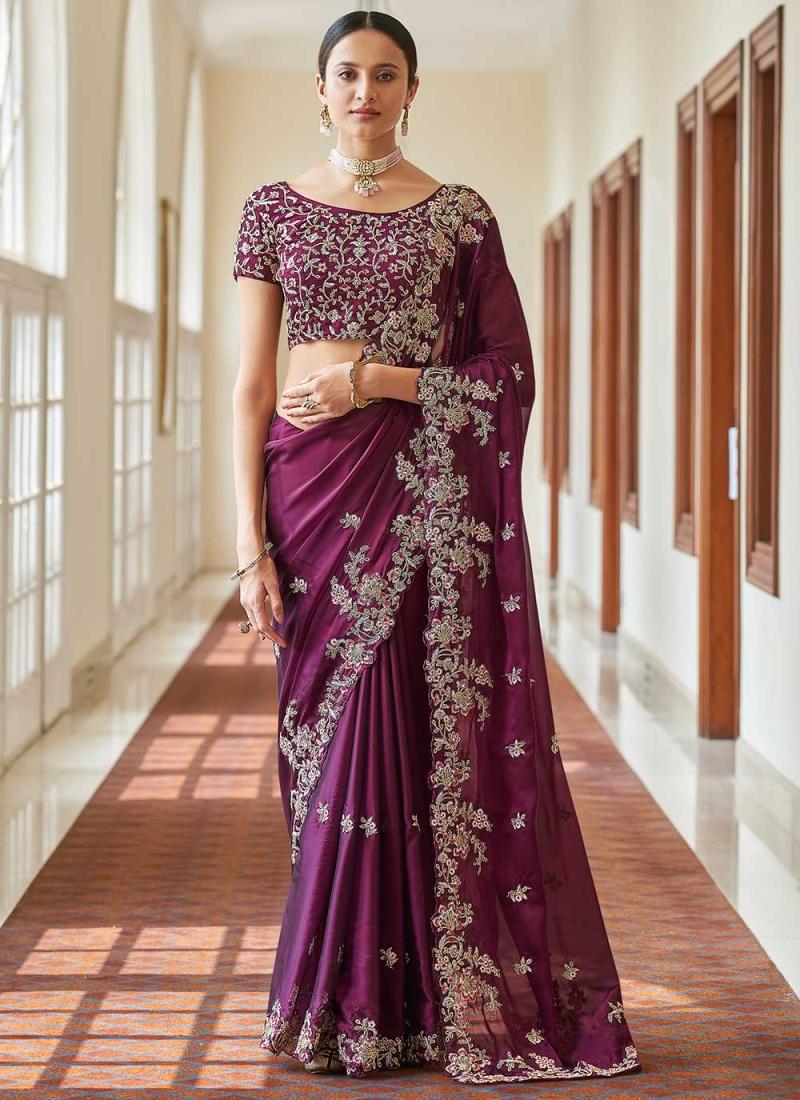 Renowned Faux Crepe Purple Designer Traditional Saree