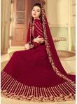 Renowned Red Faux Georgette Floor Length Anarkali Suit - 1