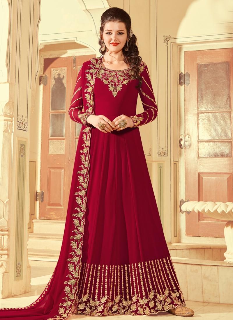 Renowned Red Faux Georgette Floor Length Anarkali Suit
