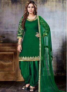 Resham Art Silk Punjabi Suit in Green